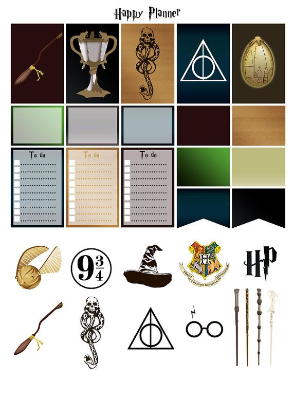 Harry Potter | Printable stickers | 4 pdf | Instant ...