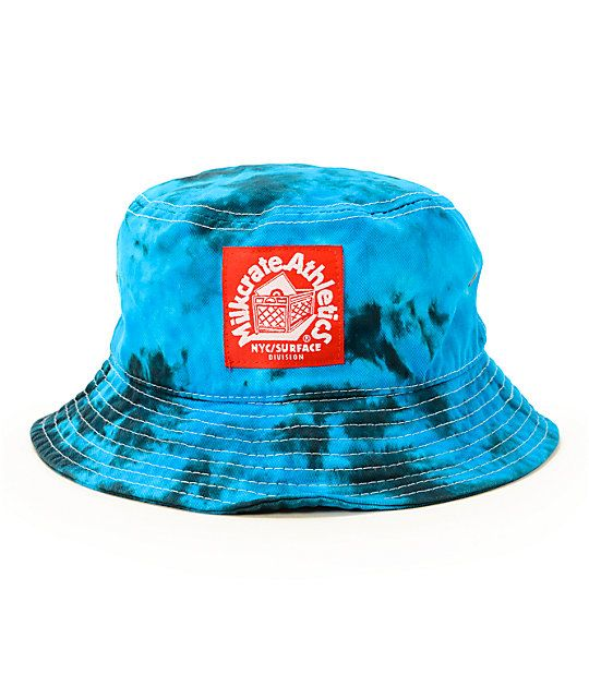 Cop some stylish shade with an all over blue tie dye pattern with a red  Milkcrate Athletic logo patch embroidered at the front. 21ab7b1c332