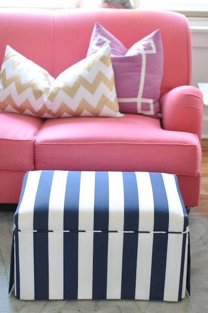 I love all of these bright colors and the blue and white ottoman is amazing!