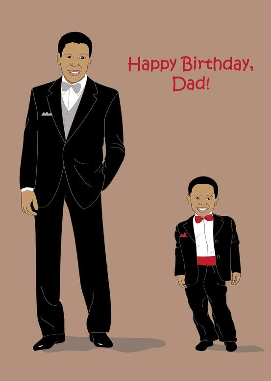 Birthday Greeting Card For Dad Father Handsome Black African American Man And His Son Wearing Tuxedos