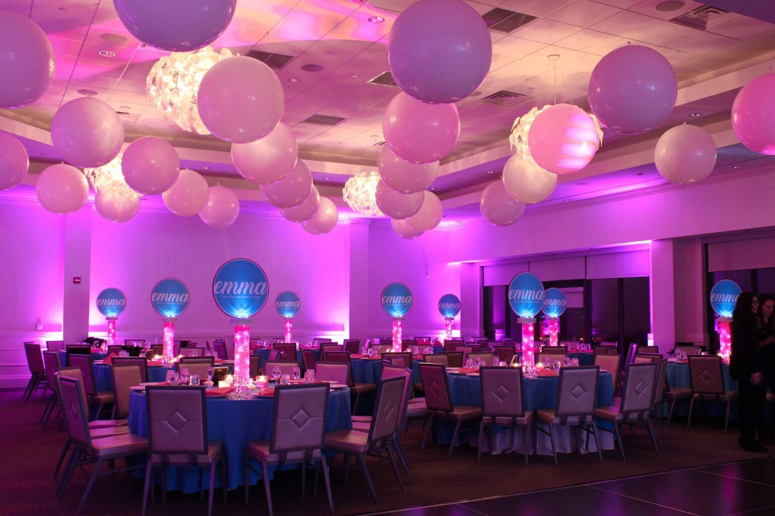 3 White Balloons On Ceiling For Club Themed Bat Mitzvah At Galloping Hills Golf Course