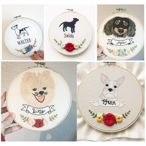 39222373b43a Custom Painted Pet Embroidery Hoop | Gifts for Dog Lovers | Dog Gift | Puppy  Embroidery | Pet Memori