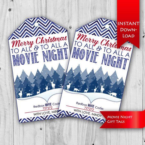 Movie Night Tag, Christmas Gift Idea | Teacher/Neighbor Christmas ...