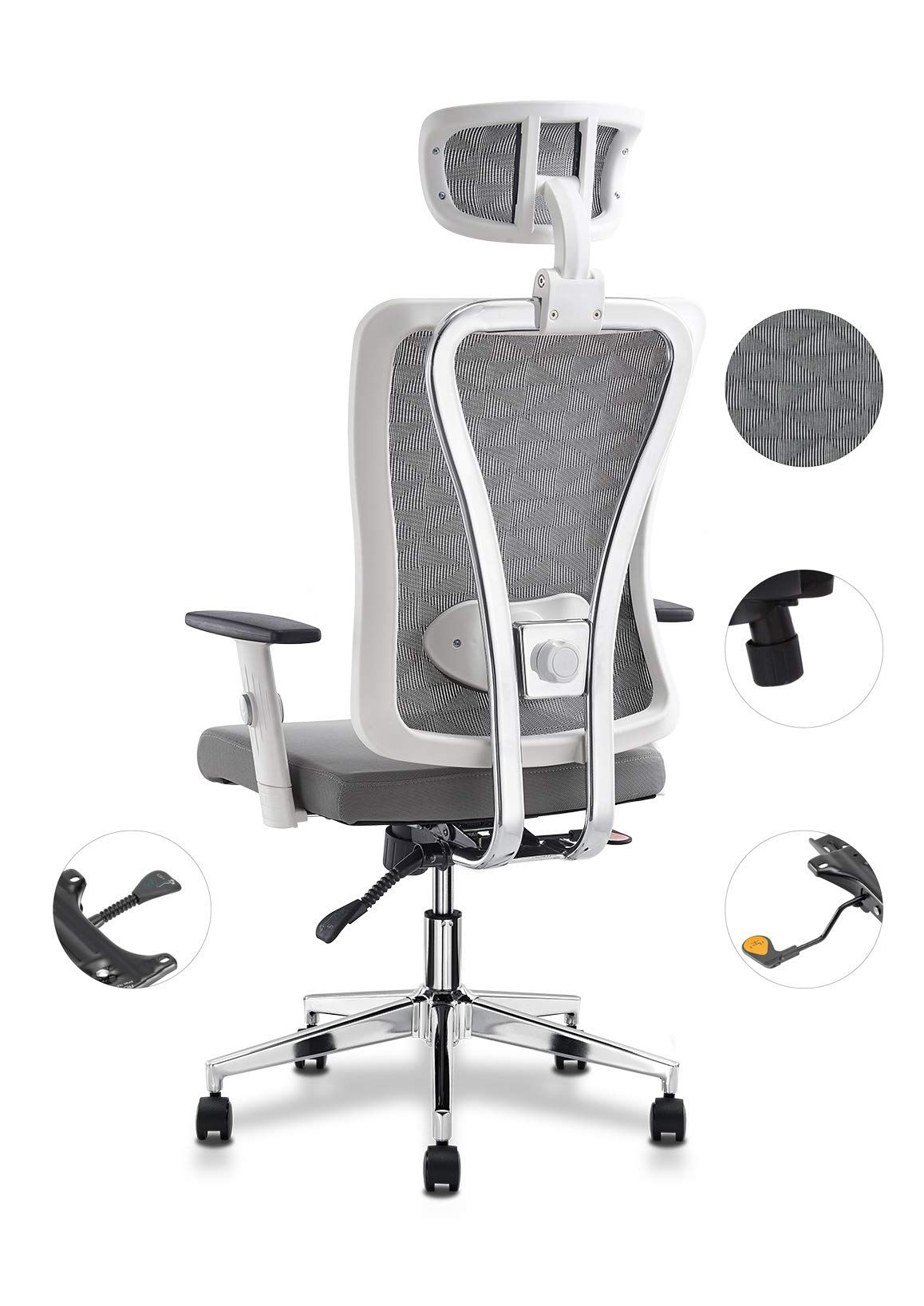 Cedric White Ergonomic Adjustable Office Chair with