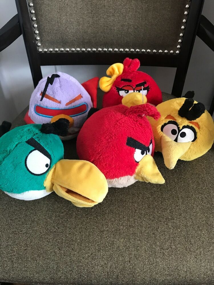fbb1181e1 Angry birds Plush Lot (5)Hal Red Laser Chuck Bubbles Girl Red Yellow ...