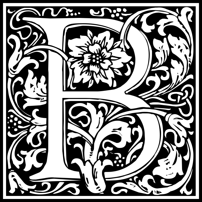 Illuminated Letter B Clipart   william morris letter b