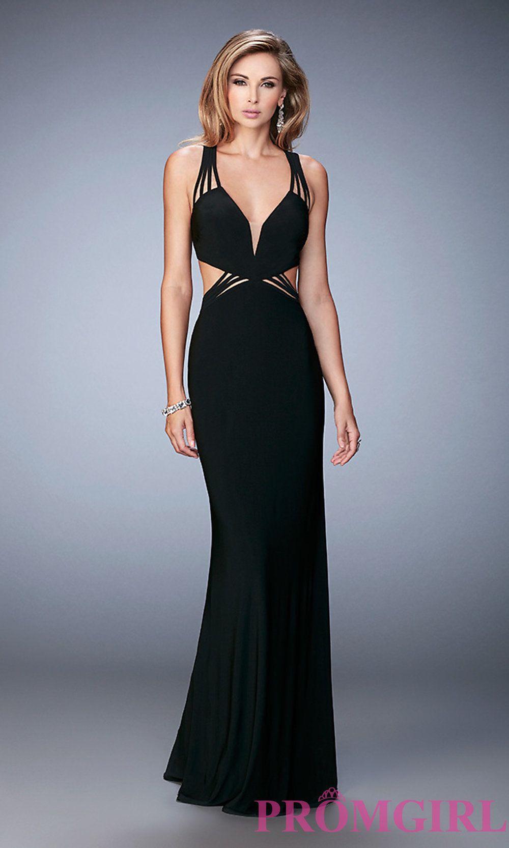 Image Of Floor Length V Neck Sleeveless Open Back Dress Detail Image
