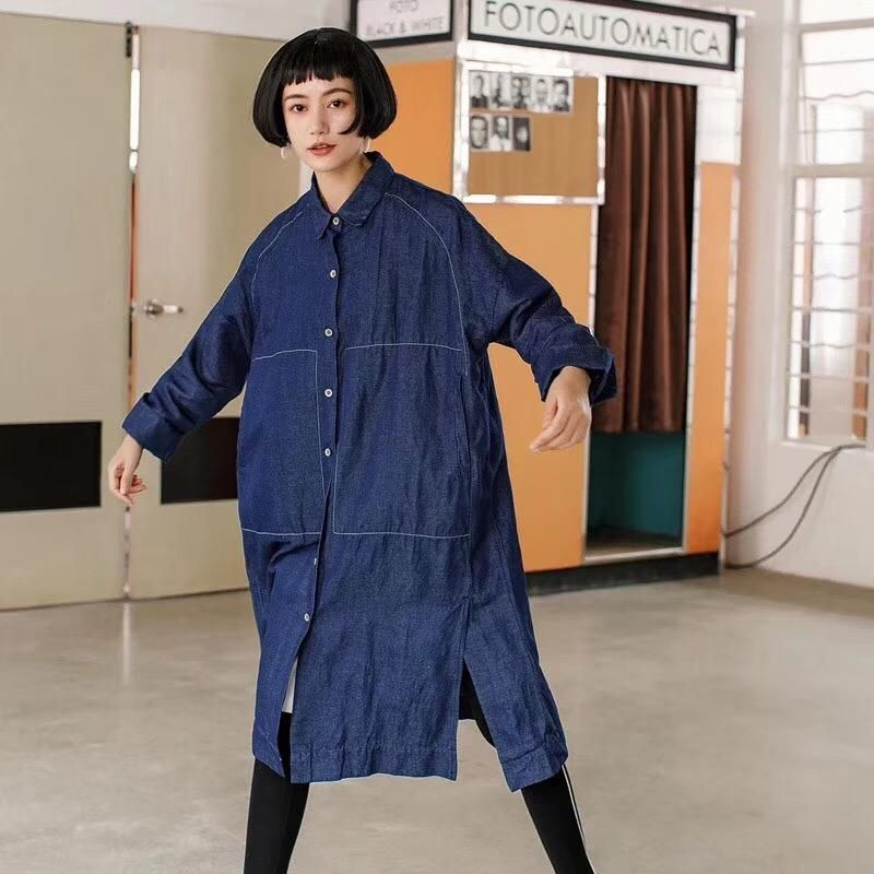 c1640c1ed2 Blue Denim Boyfriend Style Shirt Big Size Casual Tops Women Clothes S4101 -  FantasyLinen