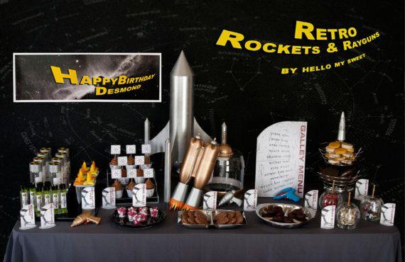 FULL PARTY SET  Retro Space Rocket Ships and Ray Guns by HelloMySweet, $25.00  www.hellomysweet.me  http://www.etsy.com/shop/HelloMySweet