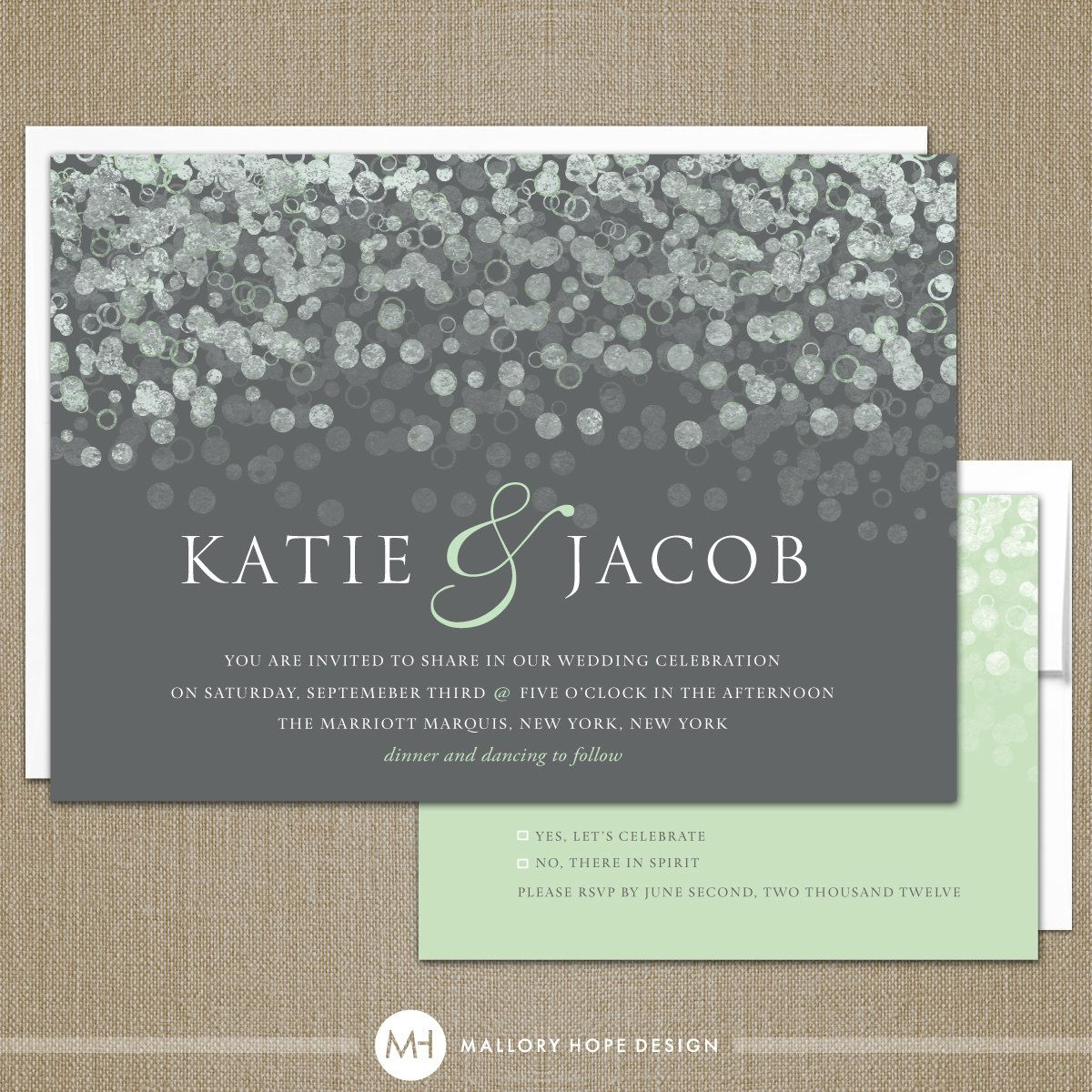 second wedding invitations wording%0A Champagne Bubbles Modern Wedding Invitation  u     RSVP Set  Customize Colors  and Content  DIY