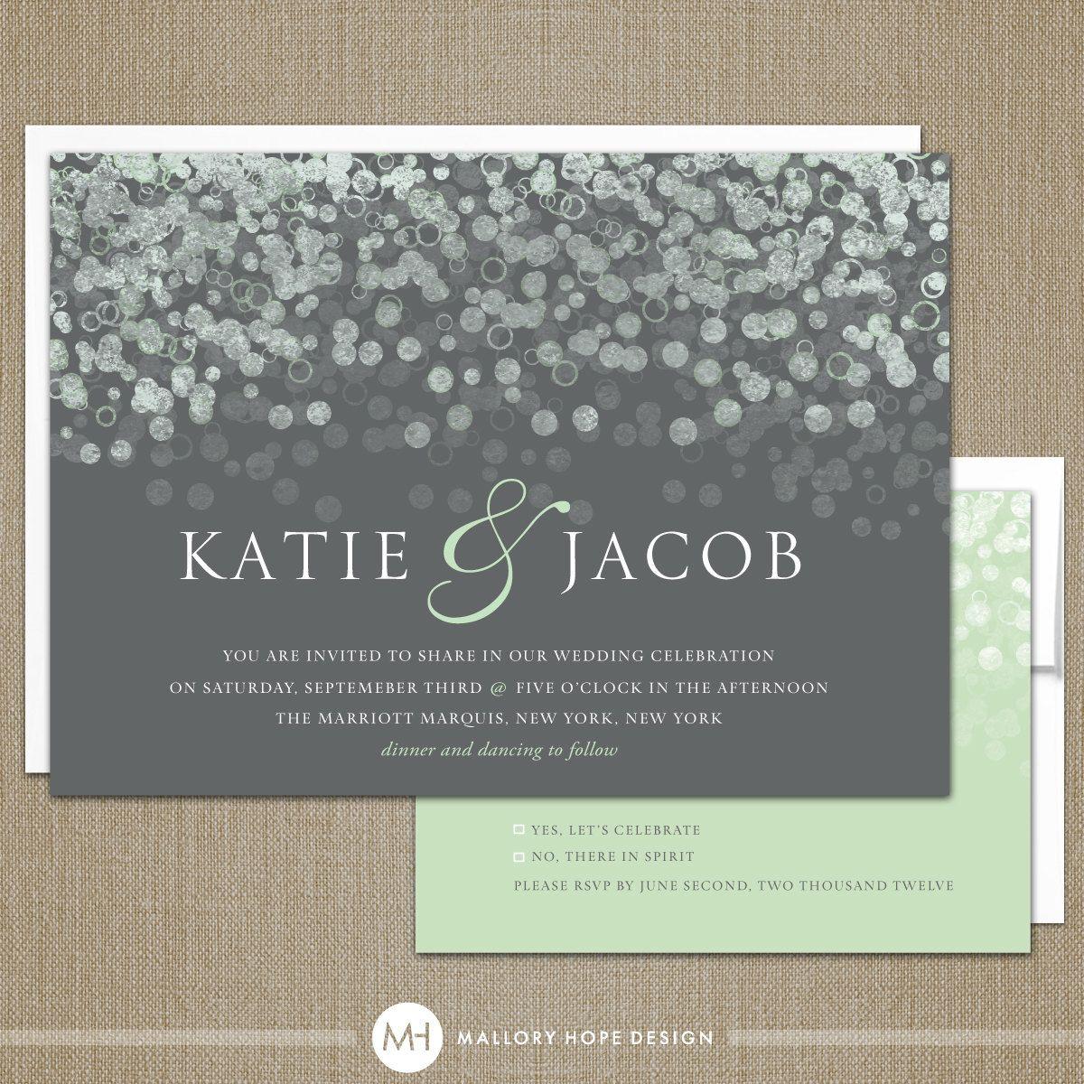 Champagne Bubbles Modern Wedding Invitation u0026 RSVP