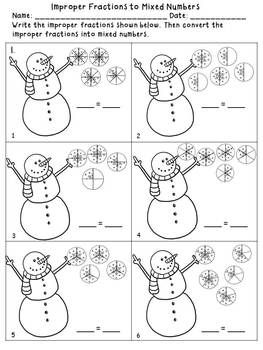 Winter Fraction Printables with Snowmen and Snowflakes {8 ...