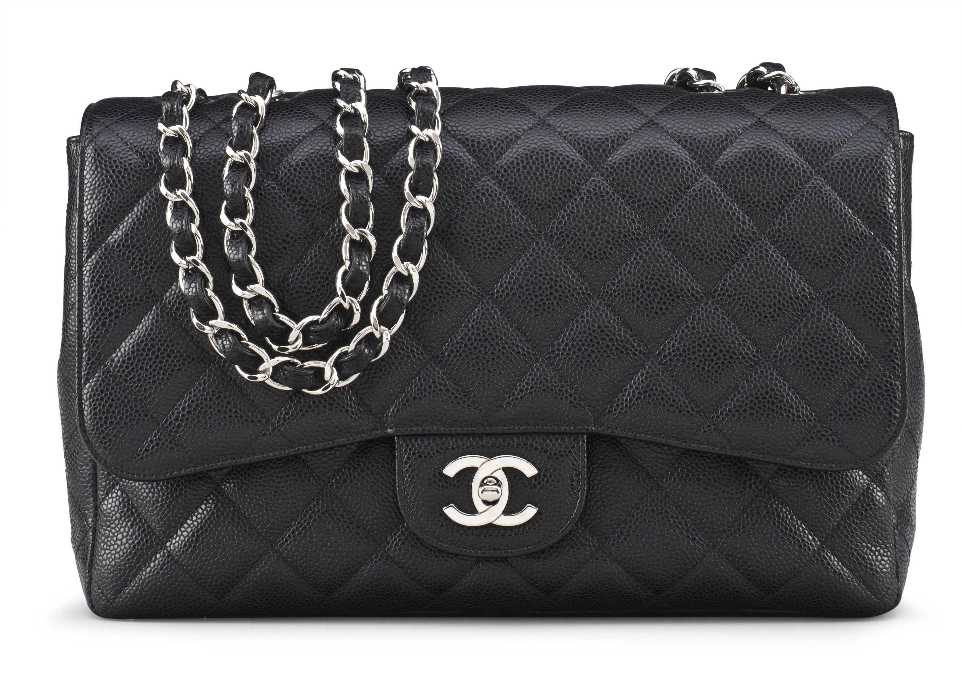 f980062f7424c A black caviar leather jumbo single flap bag with silver hardware  chanel