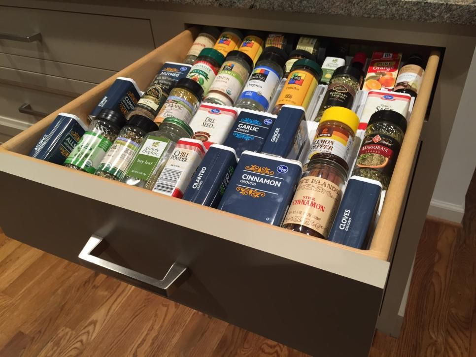 spice drawer insert, good for different shapes and sizes. Rev-A-Shelf http://www.rev-a-shelf.com/p-332-cut-to-size-insert-spice-organizer-for-drawers.aspx