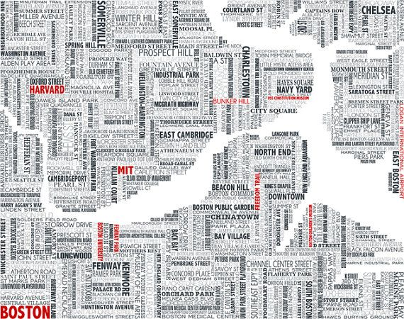 Jeff Sheldon Tocci how amazing is this Boston Typographic Map by