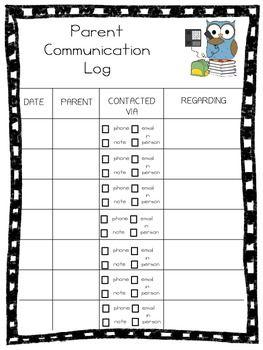 Freebie Parent Communication Log Parent Communication Log Communication Log Parent Communication