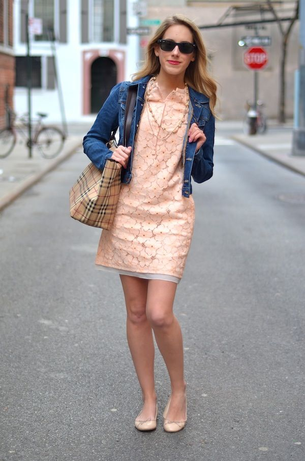 e1096edc2f9 jean jacket + pink lace dress