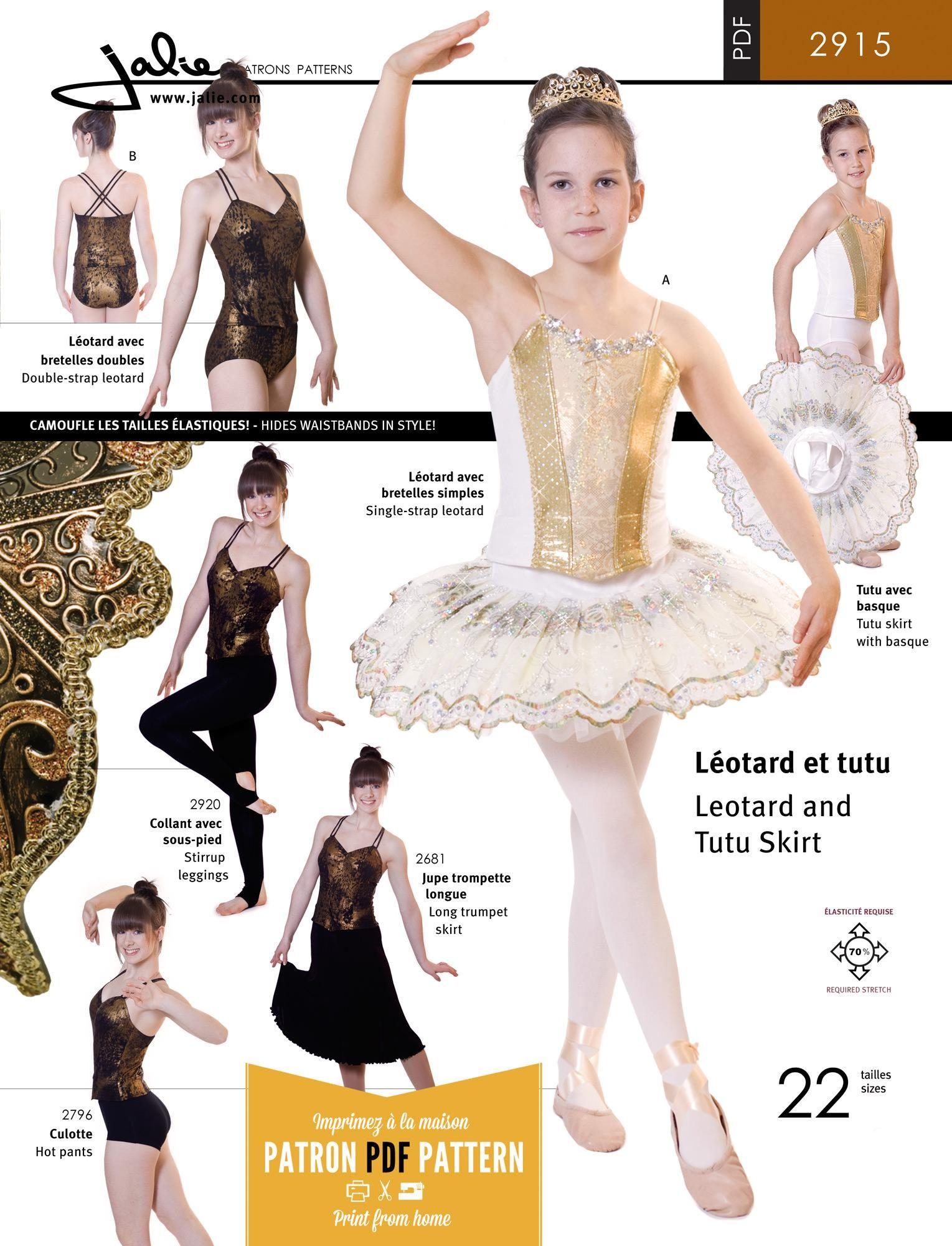 Jalie 2915 - Stretch Tutu (Leotard + Skirt) PDF Pattern Cover | this ...