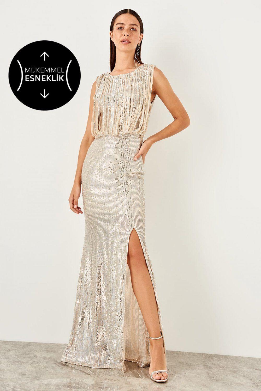 Trendyolmilla Ekru Payetli Uzun Abiye Elbise Elbisebul Elbise The Dress Moda Stilleri