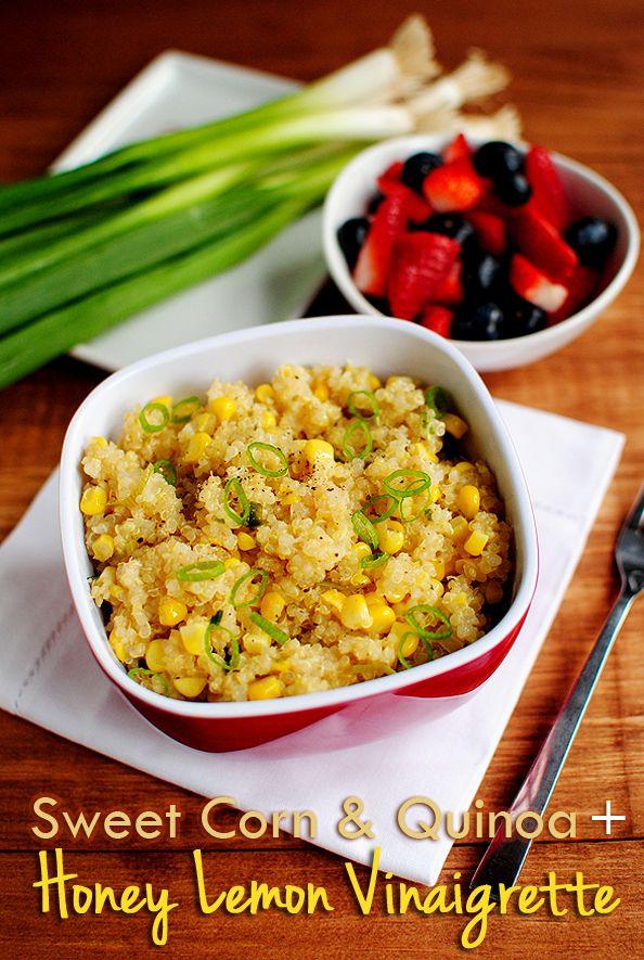 Sweet corn and quinoa with honey lemon vinaigrette