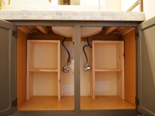 A step by step guide for creating storage under the sink diy network sinks and organizations - Simply design a bathroom vanity with five steps ...