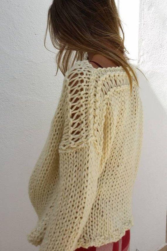 Damen Gestrickter Pullover Locker Asymmetrisch Fackel Ärmel Neu