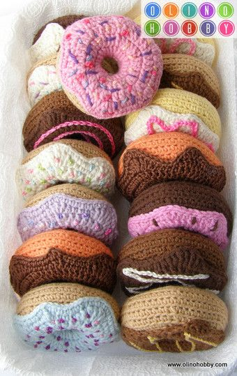 knitted donuts, donuts hook description knitting, sweets ...
