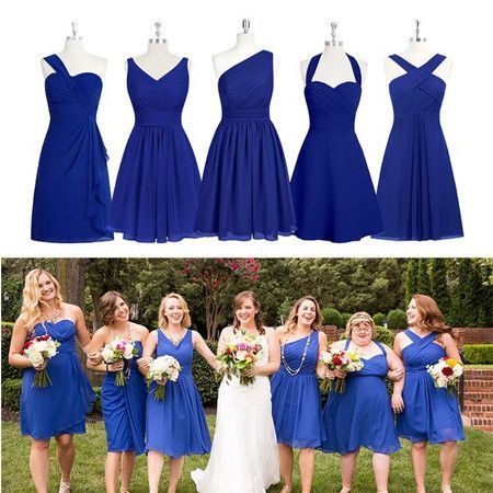 short bridesmaid dresses blue