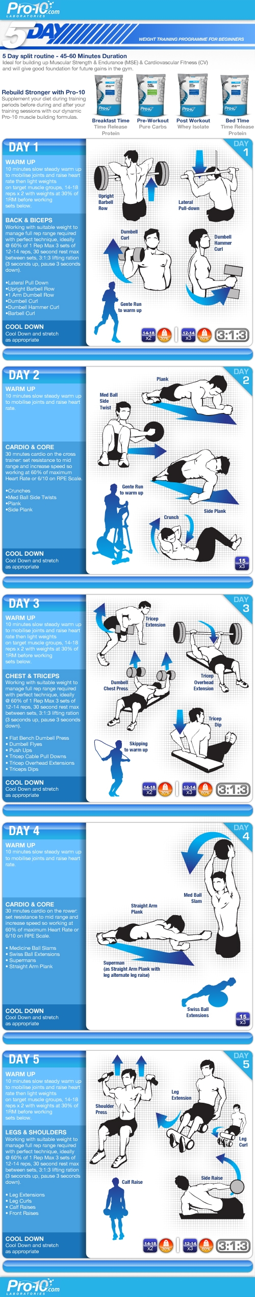 5 Day Weight Training Plan For Beginners