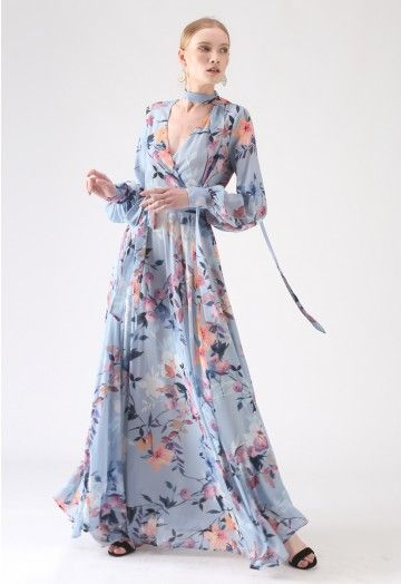 Floral Endearment Chiffon Maxikleid in Blau in 2020 ...