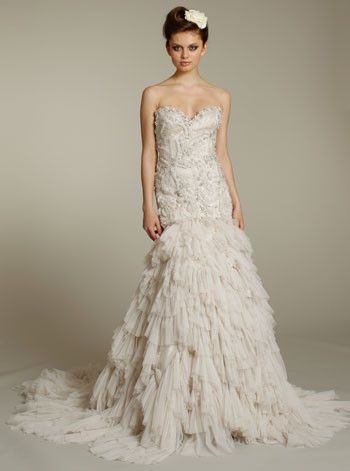Lazaro Beaded Embroidered Wedding Dress With Shredded Tulle