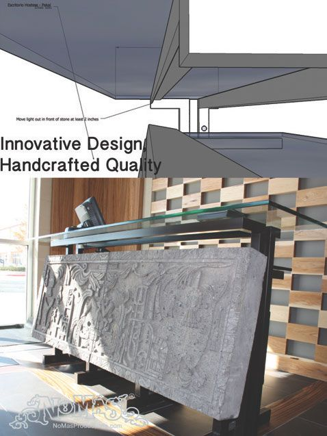 Cinco Mexican Restaurant In Cobb Energy Center Custom Designed Hostess Desk Hand Carved Stone Reception Created By No Mas