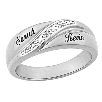 Mens Sterling Silver Diamond Accent Couples Wedding Band 2 Names