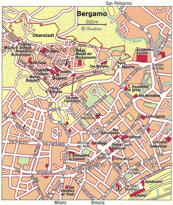 Bergamo Map Tourist Attractions Germany bucket list Pinterest