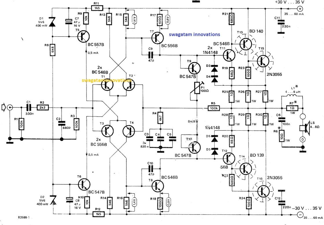 The amplifier circuit explained here was built and tested