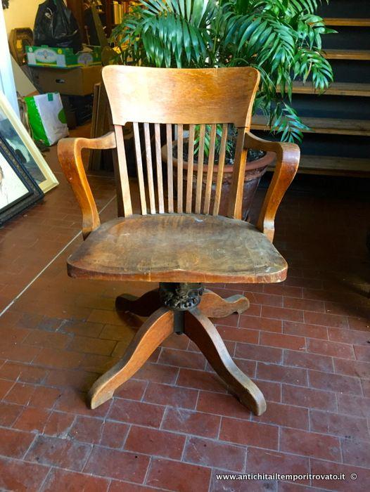 Sedia Basculante Da Ufficio.Mobili Antichi Poltrone E Poltroncine Antica Poltrona Girevole Da
