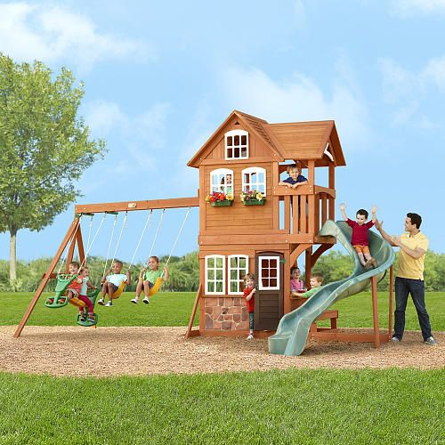 Stonefield Lodge Gym Set   Backyard toys, Wooden outdoor ...