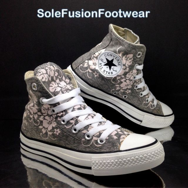 198dab580757 Converse All Star Womens Floral Trainers Grey Pink sz 5 High Sneakers US 7  37.5