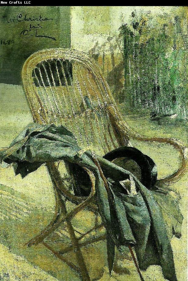 Carl Larsson korgstol med kladesplagg