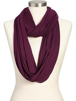 Womens Solid-Jersey Infinity Scarves- also in blue, gray and pink