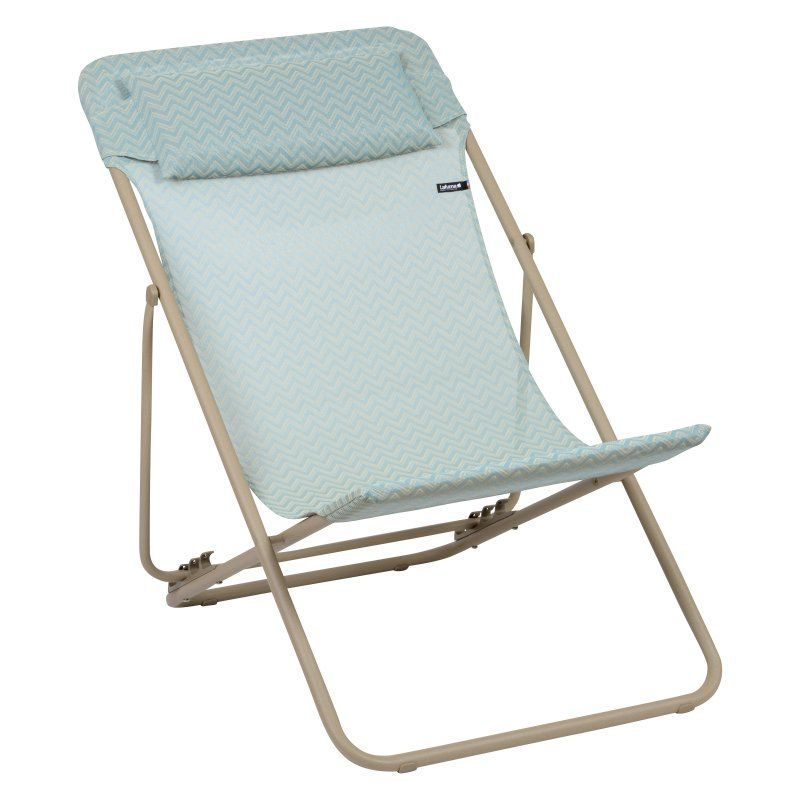 Outdoor Lafuma Batyline Natural Maxi Transat Plus Beach Chair Set Of 2 Celadon Chevron Fabric Sand Frame Lfm2579 7233 Transat