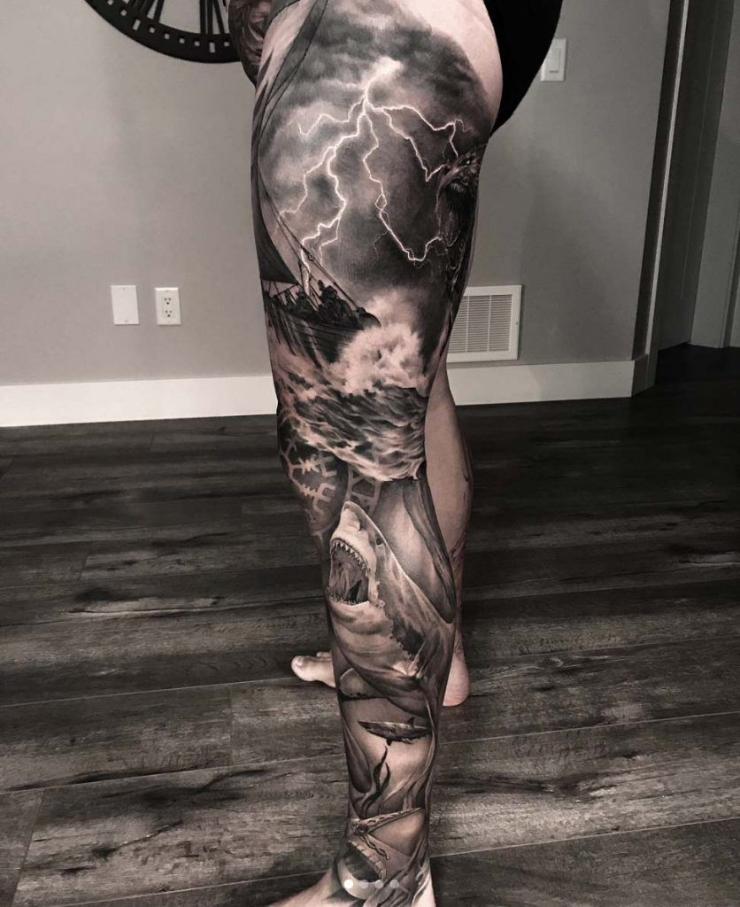 40 Men S Tattoos That Are Anything But Basic Tattooblend Ocean Tattoos Leg Tattoo Men Leg Tattoos