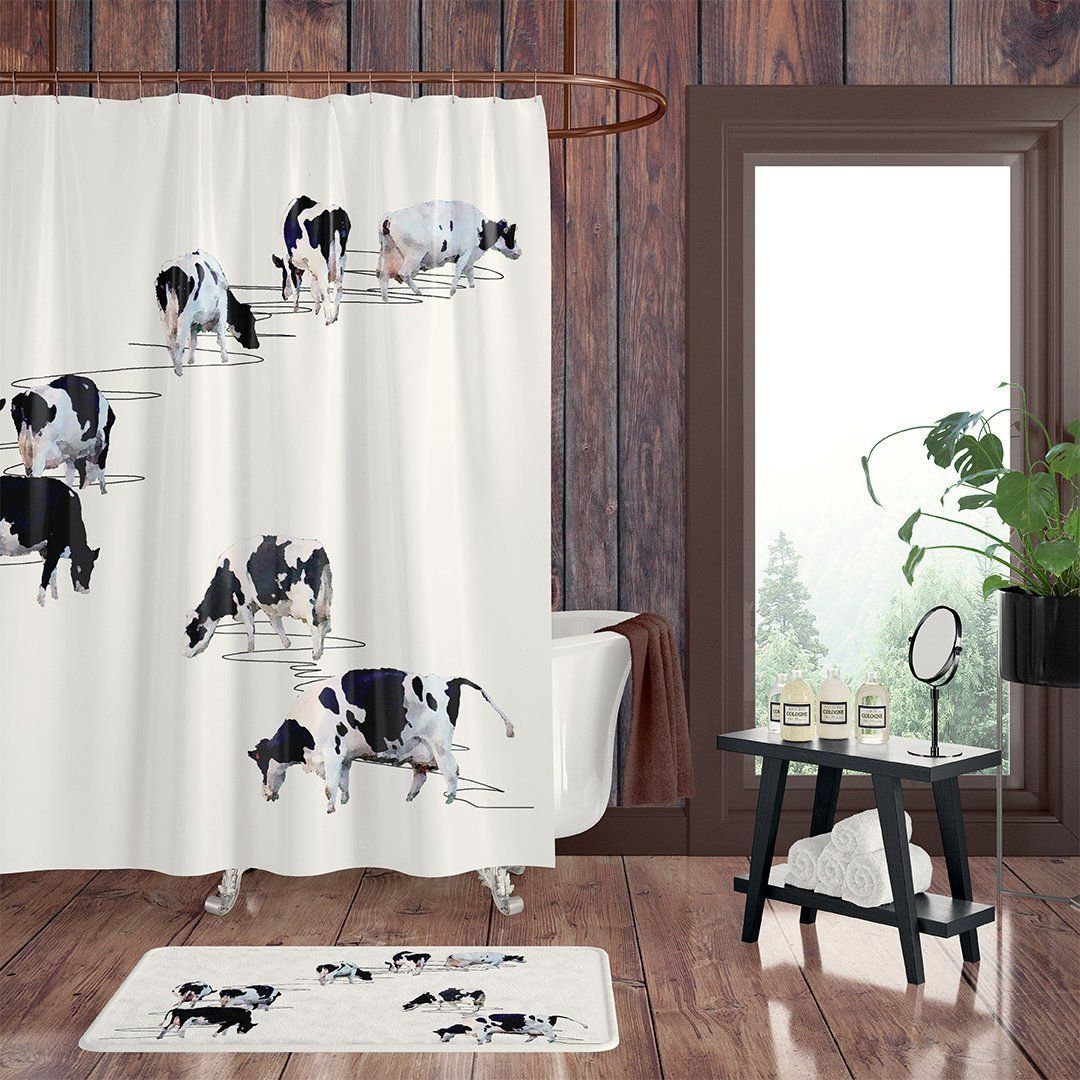 Farmhouse Shower Curtain Cattle Ranch Bathroom Decor Bathroom