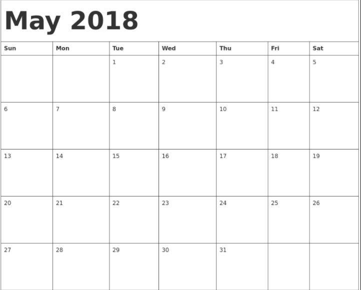 may 2018 blank calendar download calendar 2018 in 2018 pinterest