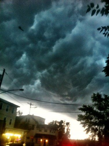 Derecho clouds over Philadelphia.  By tcherjohn via CNN iReport.  These skies were seen this evening over the Manayunk neighborhood in Philadelphia and in an immediate Philly suburb.  #storm