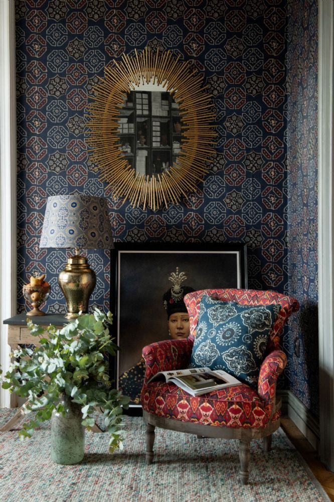 Ajrak Wallpaper by Mind The Gap in 2020 Blue wallpapers