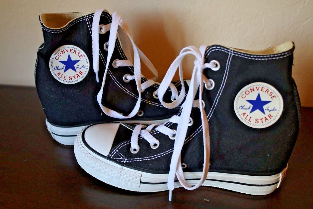 41a131f8fc64 Converse All Star Chuck Taylor Lux Platform Hidden Heel Black Hi Tops 7.5   Converse  FashionSneakers