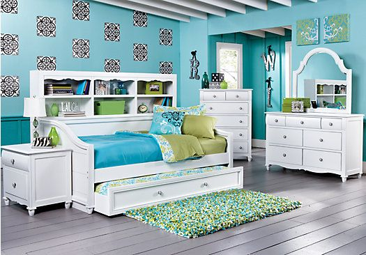 Gabriella Winter White 5 Pc Twin Bookcase Daybed Bedroom Bedroom