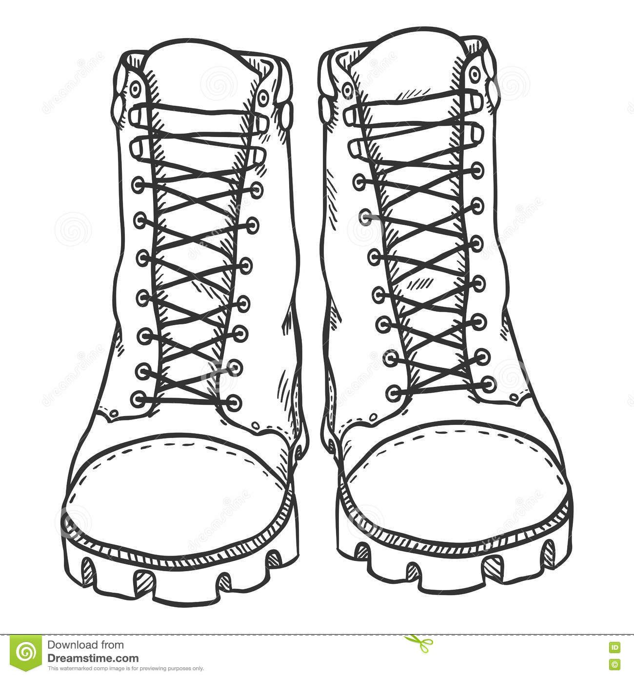 Image result for drawing of hiking boots front view