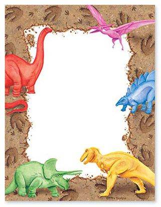 free dinosaur border writing paper
